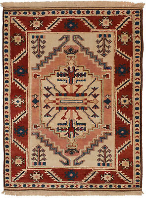 """Hand-knotted Turkish 4'0"""" x 5'3"""" Antique Shiravan Wool Rug...DISCOUNTED!"""