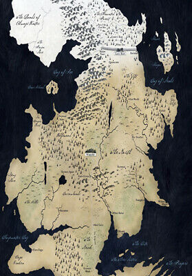 GAME OF THRONES THE NORTH  MAP  * LARGE A3 SiZE QUALITY CANVAS PRINT