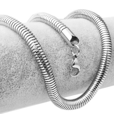 6mm Fashion Silver Womens Mens 316L Stainless Steel Snake Link Chain Necklace
