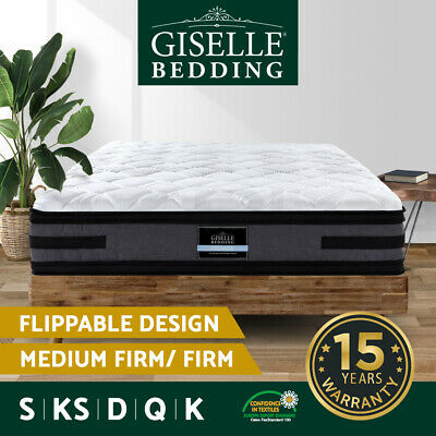Giselle Bed Mattress QUEEN DOUBLE KING SINGLE Pocket Spring Euro Top Firm 36cm