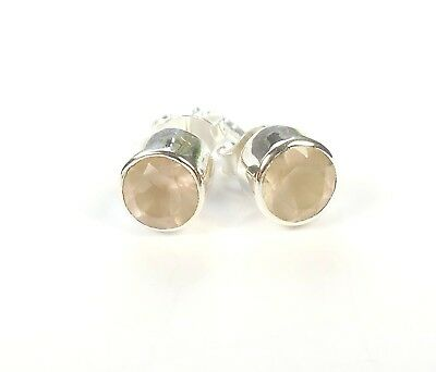ROUND CUT ROSE QUARTZ GEMSTONE 925 STERLING SILVER STUD EARRINGS STAMPED 0.6 g