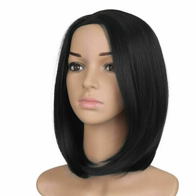 Black Women Ladies Real Natural Short Straight Hair Full Wig BOB Style Cosplay