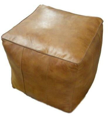Leather Cube Pouffe / Footstool / Stool / Seat - Brown Colour