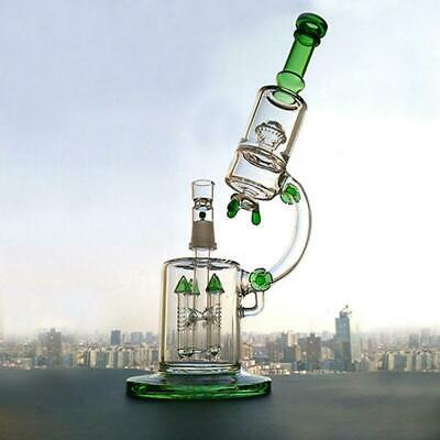 "Green Water Bong Glass Pipe Bubbler Recycler Thick 13.3"" Hookah Microscope"
