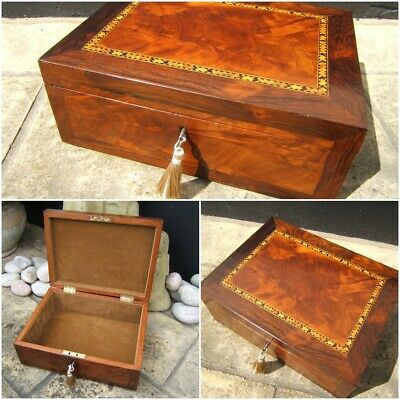 Terrific 19C Figured Mahogany Antique Document/Jewellery Box - Fab Interior