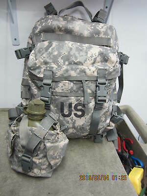 """US Army Military ACU 3 Day Assault Back Pack & Canteen w/ Pouch #I 1"""" Hole"""
