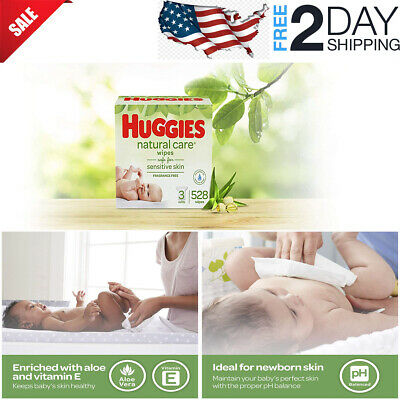 HUGGIES Natural Care Unscented Baby Wipes, Sensitive, Water-Based-FREE SHIPPING