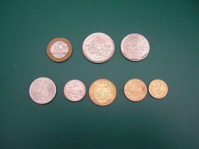France. Set of 8 Pre-Euro post 1960 Coins.  5 Centimes > 10 Francs Mixed Dates