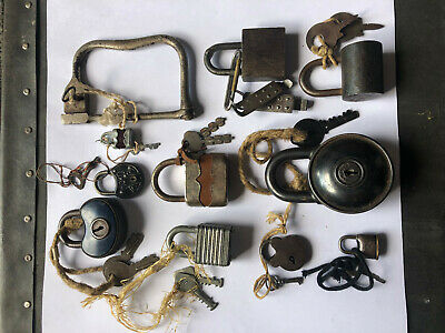 lot of Antique brass cast iron tin lock key working padlock with keys