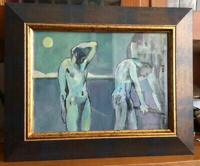Framed Vintage Gouache Painting In Good Condition Signed Keith Vaughan