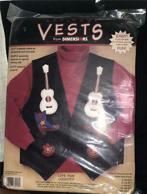 "Dimensions Applique Vests ""Love That Country"" Kit NIP"