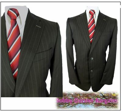 "Limehaus 2 piece mens suit Ch40""L W36"" L33"" Brown Striped"