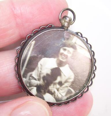 Large Round Antique Victorian Solid Silver Double Sided Photo Locket Pendant