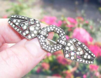 Stunning Antique Art Deco Brilliant Diamond Paste Stone Solid Silver Brooch Pin
