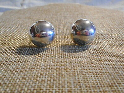 Vintage Signed Sterling Silver 925 Half Ball Dome 19mm Earrings MEXICO GUC