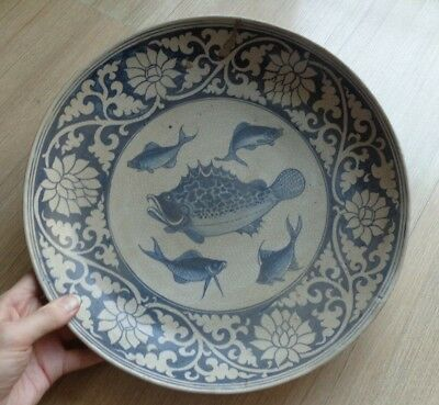 Antique  Blue & White Fish  Plate Charger Ming Miyao Signed