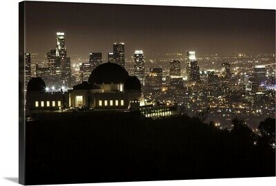 """Griffith Park Observatory and downtown LA at night"" Canvas Art Print"