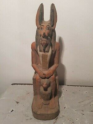 Rare Antique Ancient Egyptian Statue God Anubis Ushabti Canopic Jar1427–1401BC