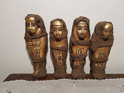 Rare Antique Ancient Egyptian 4 Ushabtis Servant minions Water Gold16400-15600BC