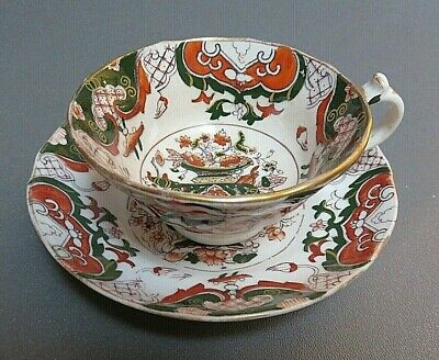 antique Asian tea cup saucer green and rust hand painted Imari vase pattern