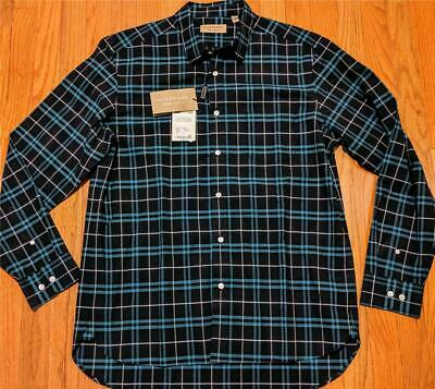 "$370 Mens Burberry ""George"" Plaid Checked LS Button Up Shirt Blue XL"