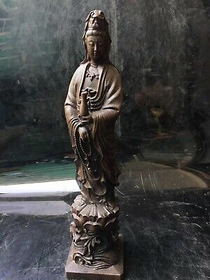Ancient Chinese agarwood wood Guanyin carving statue folk collection  83051