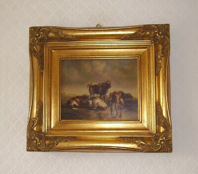ANTIQUE PAINTING OIL ON BRASS PANEL CATTLE IN LANDSCAPE PASTORAL circa 1890