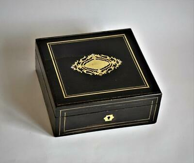 GOOD ANTIQUE FRENCH BOULLE INLAY EBONY & BRASS JEWELLERY TRINKET BOX circa 1870s