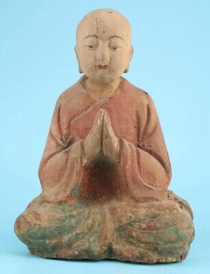 Chinese Wood Hand-Carved Buddhist Monk Statue Spiritual Gift Decoration