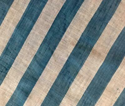 BEAUTIFUL EARLY 19th CENTURY INDIGO STRIPE FINE LINEN COTTON 447