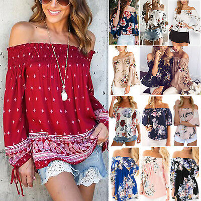 Womens Floral Boho Off Shoulder Blouse Summer Pleated T-shirt Loose Casual Tops