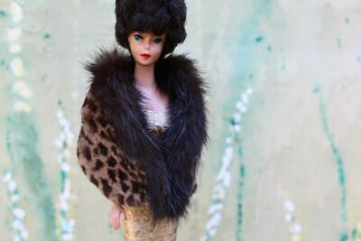 ~Red Wine Fur Stole 4 Silkstone Vintage Barbie Fashion Royalty doll~by dimitha