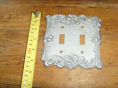 American Tack silver toned roses vintage 1967 double light switch plate cover