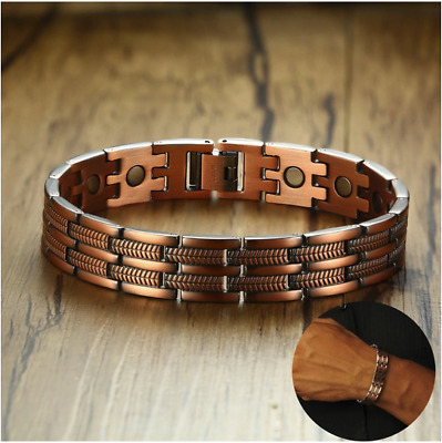 Mens Elegant Pure Copper Magnetic Therapy Link Bracelet Pain Relief