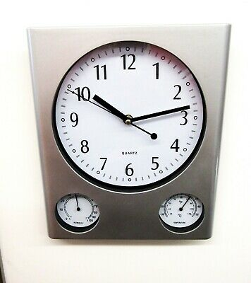Analog Weather Station Wall Clock- With Humidity &Temperature Dials, Quiet Sweep