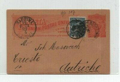 Montevideo 1/9/1894 Nice Prestamped Cover To Trieste