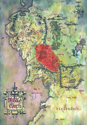 LORD OF THE RINGS Map Of Middle Earth  * LARGE A3 SIZE QUALITY CANVAS PRINT