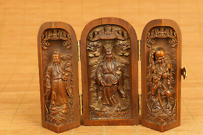 Blessing gift Old boxwood hand carving god of three buddha statue box netsuke