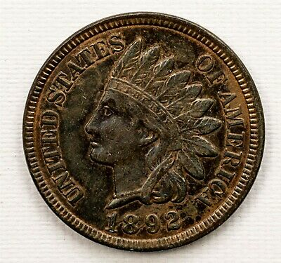 1892 Indian Head Cent - Uncirculated - 1c Bronze Penny - Nice Toning