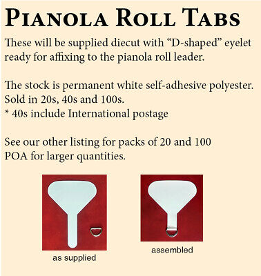Pianola Roll Tabs - NEW, self-adhesive - Pack of 40