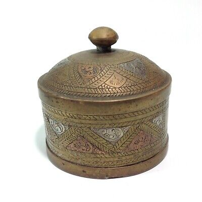 Vintage Brass Trinket Box with Copper and Silver Detail