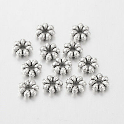 100 x Antique Silver No Lead Tibetan Silver Bead Flower Spacers 6x2mm Hole 1.5mm