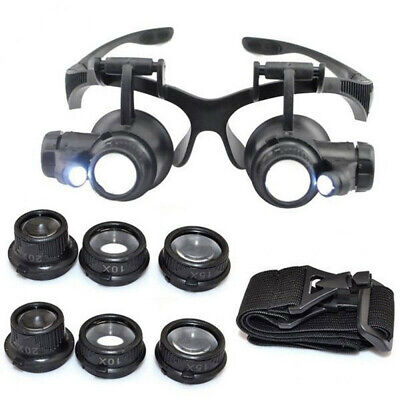 8 Lens Magnifier Magnifying Eye Glass Jeweler Watch Repair Loupe LED Light NEW