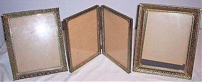 Antique/Vintage Gold Metal Lace Filigree Picture Frame Lot Bi-Fold 8x10 Pictures