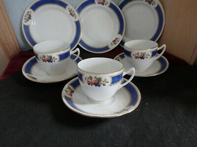 ROYAL ALBERT ENGLISH CROWN CHINA, THREE BEAUTIFUL VINTAGE TRIO,s