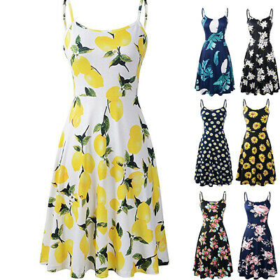 Womens Summer Sleeveless Floral Beach Dress Ladies Strapless Sundress Size 6-18