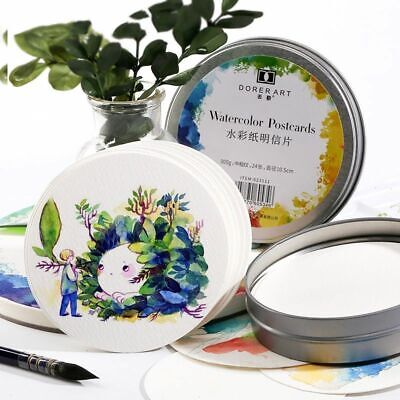 Watercolor Round Paper Post Card for Painting School Art Supplies