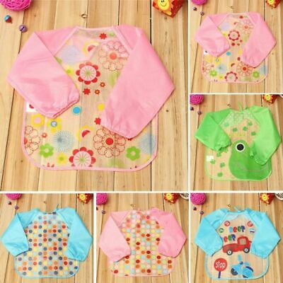 Baby Apron Toddler Waterproof Long Sleeve Smock Kids Cute Feeding Bibs with Tie