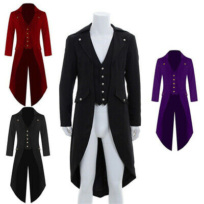 Men Gothic Victorian Retro Tailcoat Jacket Ringmaster Swalow Tail Coat Steampunk