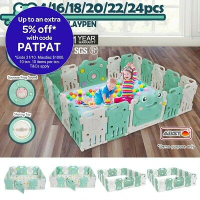 Multi Foldable Kids Baby Playpen Interactive Baby Room Safety Gates Frog ABST